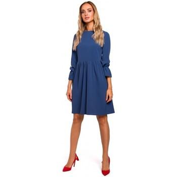 Abbigliamento Donna Abiti corti Moe M465 Vestito a turni con maniche arricciate - blu
