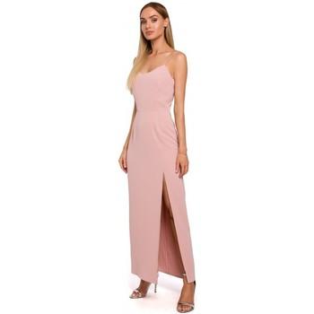 Abbigliamento Donna Vestiti Moe M485 Maxi abito da sera con spacco alto - cipria