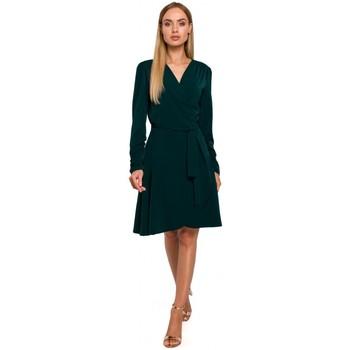Abbigliamento Donna Abiti corti Moe M487 Abito a portafoglio con maniche arricciate - verde