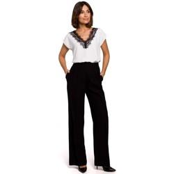 Abbigliamento Donna Chino Style S203 Pantaloni palazzo con vita elasticizzata - nero