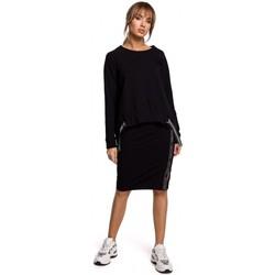 Abbigliamento Donna Top / Blusa Moe M492 Pullover a maglia alta con strisce con logo - nero