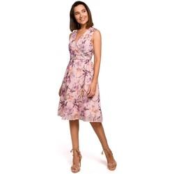 Abbigliamento Donna Abiti corti Style S225 Abito in chiffon con scollo profondo - modello 3