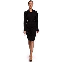 Abbigliamento Donna Abiti corti Moe M547 Travestimento con arricciatura sul davanti - nero