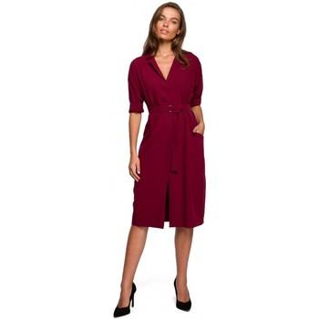 Abbigliamento Donna Abiti corti Style S230 Abito da camicia midi con tasche applicate - marrone