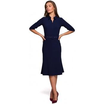 Abbigliamento Donna Abiti corti Style S231 Collo dres con cintura con fibbia - blu navy