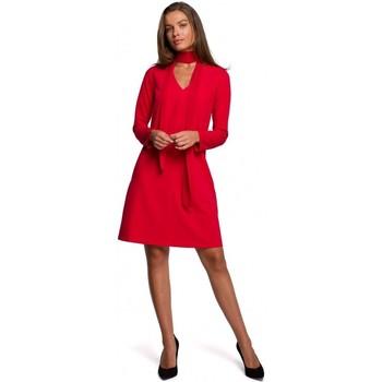 Abbigliamento Donna Abiti corti Style S233 Vestito con sciarpa di chiffon - rosso
