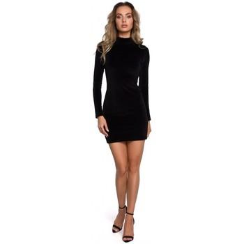 Abbigliamento Donna Abiti corti Moe M558 Mini abito a collo alto in velluto - nero