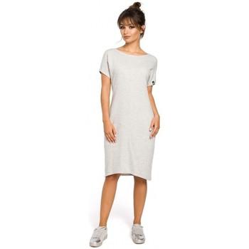 Abbigliamento Donna Vestiti Be B050 Abito midi con tasche interne - grigio chiaro