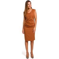 Abbigliamento Donna Abiti corti Style S174 Abito senza maniche con arricciatura sul davanti - zenzero