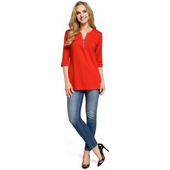 Abbigliamento Donna Top / Blusa Moe M278 Camicetta a tunica con collo con zip - rosso