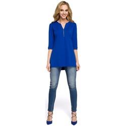 Abbigliamento Donna Top / Blusa Moe M278 Camicetta a tunica con collo con zip - blu reale