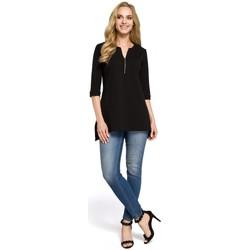 Abbigliamento Donna Camicie Moe M278 Camicetta a tunica con collo con zip - nero