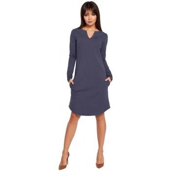 Abbigliamento Donna Abiti corti Be B017 Klasyczna sukienka z rozcięciem na dekolcie - niebieska