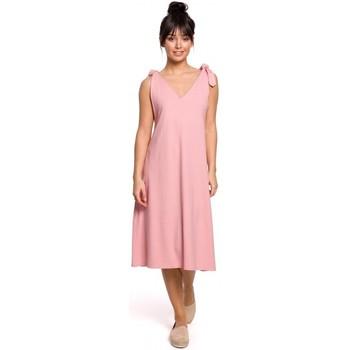 Abbigliamento Donna Abiti corti Be B148 Abito a trapezio con cinturino - rosa