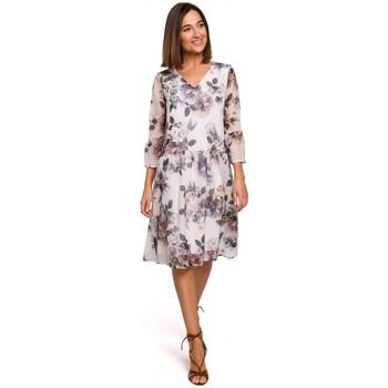 Abbigliamento Donna Vestiti Style S214 Abito in chiffon con vita a goccia - modello 1