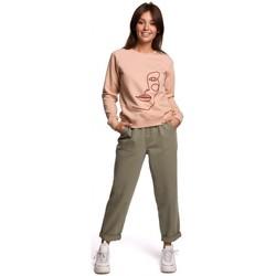 Abbigliamento Donna Felpe Be B167 Pullover con stampa sul davanti - beige