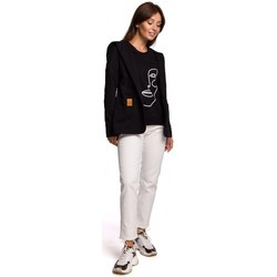 Abbigliamento Donna Giacche / Blazer Be B180 Blazer con cappuccio in maglia di cotone - nero