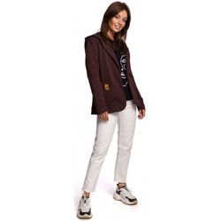 Abbigliamento Donna Giacche / Blazer Be B180 Blazer con cappuccio in maglia di cotone - marrone