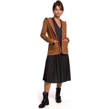 Abbigliamento Donna Giacche / Blazer Be B180 Blazer con cappuccio in maglia di cotone - caramello