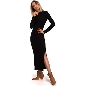 Abbigliamento Donna Abiti lunghi Moe M544 Maxi abito con spacco sulla gamba - nero