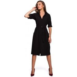 Abbigliamento Donna Abiti lunghi Style S230 Abito da camicia midi con tasche applicate - nero