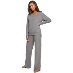 Abbigliamento Donna Pantaloni morbidi / Pantaloni alla zuava Style S249 Pantaloni a gamba larga in maglia Lounge - grigio