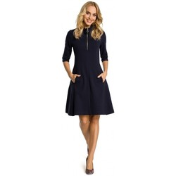 Abbigliamento Donna Abiti corti Moe M349 Vestito con collo a zip - blu navy