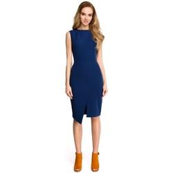 Abbigliamento Donna Abiti corti Style S105 Vestito senza maniche con finto risvolto - blu navy