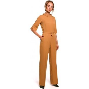 Abbigliamento Donna Tuta jumpsuit / Salopette Moe M463 Jumpsuij con colletto rialzato - cannella
