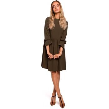 Abbigliamento Donna Abiti corti Moe M465 Vestito a turni con maniche arricciate - cachi
