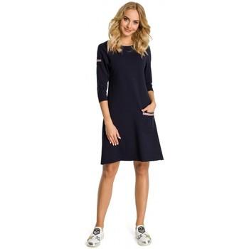 Abbigliamento Donna Vestiti Moe M343 Abito a trapezio con dettagli a righe - blu navy