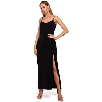 Abbigliamento Donna Abiti lunghi Moe M485 Maxi abito da sera con spacco alto - nero
