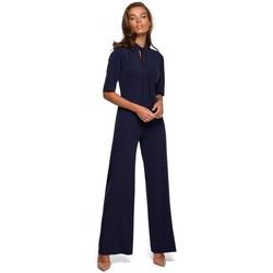 Abbigliamento Donna Tuta jumpsuit / Salopette Style S243 Tuta elegante con collo a cravatta - blu navy