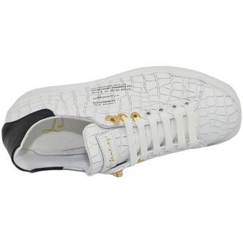 Scarpe Uomo Sneakers basse Ls Luisantiago Sneakers bassa uomo in vera pelle pitonata bianc BIANCO