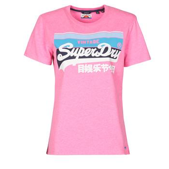 Abbigliamento Donna T-shirt maniche corte Superdry VL CALI TEE 181 Rosa