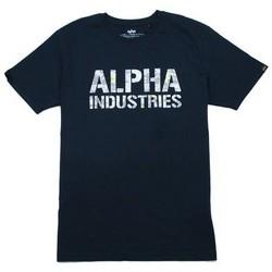 Abbigliamento Uomo T-shirt maniche corte Alpha T-shirt  Camo Print bleu nuit/blanc