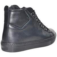 Scarpe Uomo Sneakers alte Malu Shoes Sneaker Uomo Alta Stringata Nera Pelle Made in Italy Men Shoes NERO