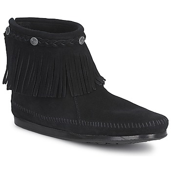 Scarpe Donna Stivaletti Minnetonka HI TOP BACK ZIP BOOT Nero