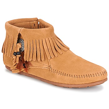 Scarpe Donna Stivaletti Minnetonka CONCHO FEATHER SIDE ZIP BOOT Taupe