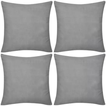 Casa Fodere per cuscini Vidaxl Set 4 Federe in cotone grigie 50 x 50 cm Grigio