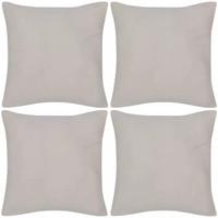 Casa Fodere per cuscini Vidaxl Set 4 Federe in cotone beige 40 x 40 cm Beige