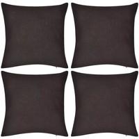 Casa Fodere per cuscini Vidaxl Set Federe 4 pz in Cotone Marrone 80 x 80 cm Marrone
