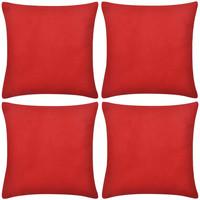 Casa Fodere per cuscini Vidaxl Set Federe 4 pz in Cotone Rosse 80 x 80 cm Rosso