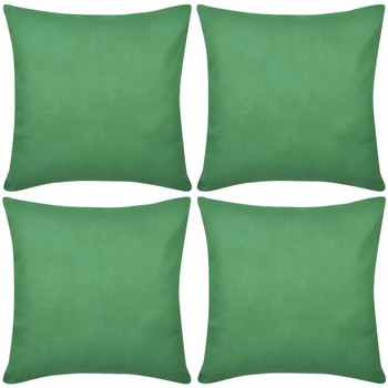 Casa Fodere per cuscini Vidaxl Set 4 Federe in cotone verde 80 x 80 cm Verde