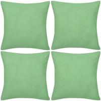 Casa Fodere per cuscini Vidaxl Federe 4 pz per Cuscini in Cotone Verde Mela 50 x 50 cm Verde