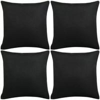 Casa Fodere per cuscini Vidaxl Set 4 Federe per Cuscini in Simil-Lino Nero 40x40 cm Nero