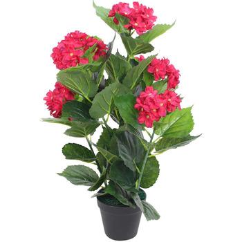 Casa Piante artificiali Vidaxl Ortensia Pianta Artificiale con Vaso 60 cm Rossa Rosso