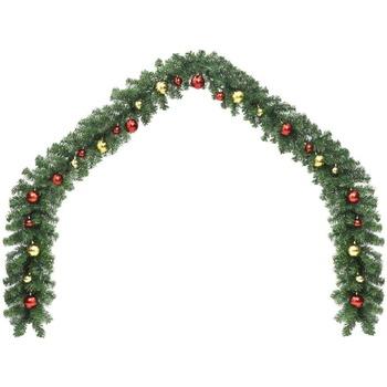 Casa Decorazioni festive Vidaxl Ghirlanda di Natale Decorata con Palline 20 m Verde