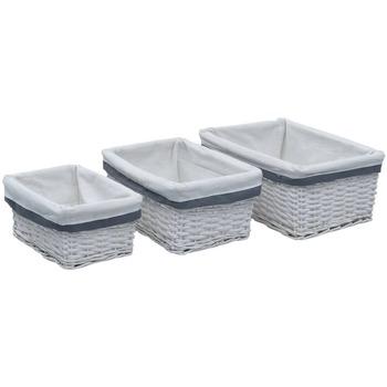 Casa Cestini, scatole e cestini Vidaxl Set Cestini Impilabili 3 pz Bianchi in Salice Bianco