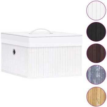 Casa Cestini, scatole e cestini Vidaxl Scatole Portaoggetti 4 pz in Bambù Bianche Bianco